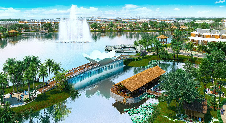 Hồ thủy sinh nội khu của KĐT sinh thái Nam Phong Ecopark