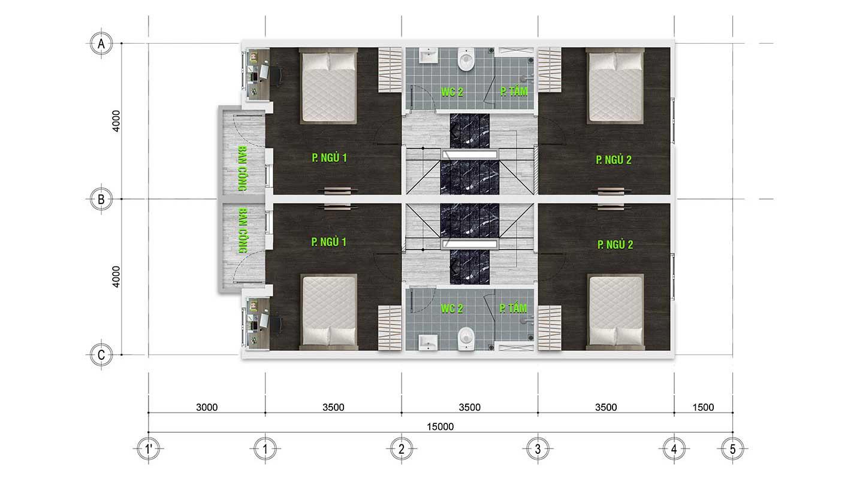 Mặt bằng vật dụng Tầng 1 - Nhà phố Trần Anh Riverside