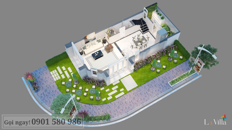 Mặt cắt tầng trệt của biệt thự tại Lavilla Green City, Trần Anh Group