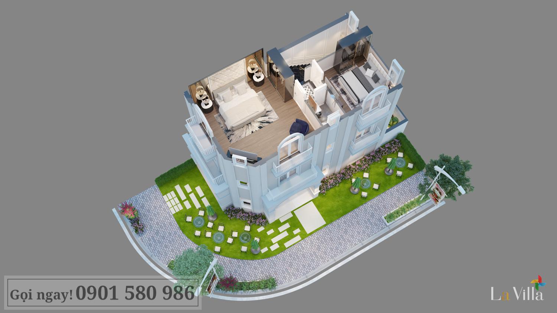 Mặt cắt tầng 2 của biệt thự tại Lavilla Green City, Trần Anh Group
